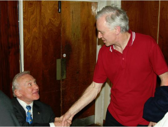 A delighted Buzz Aldrin at last meets his hero, Steve Adams (Credit: Simon Howard)