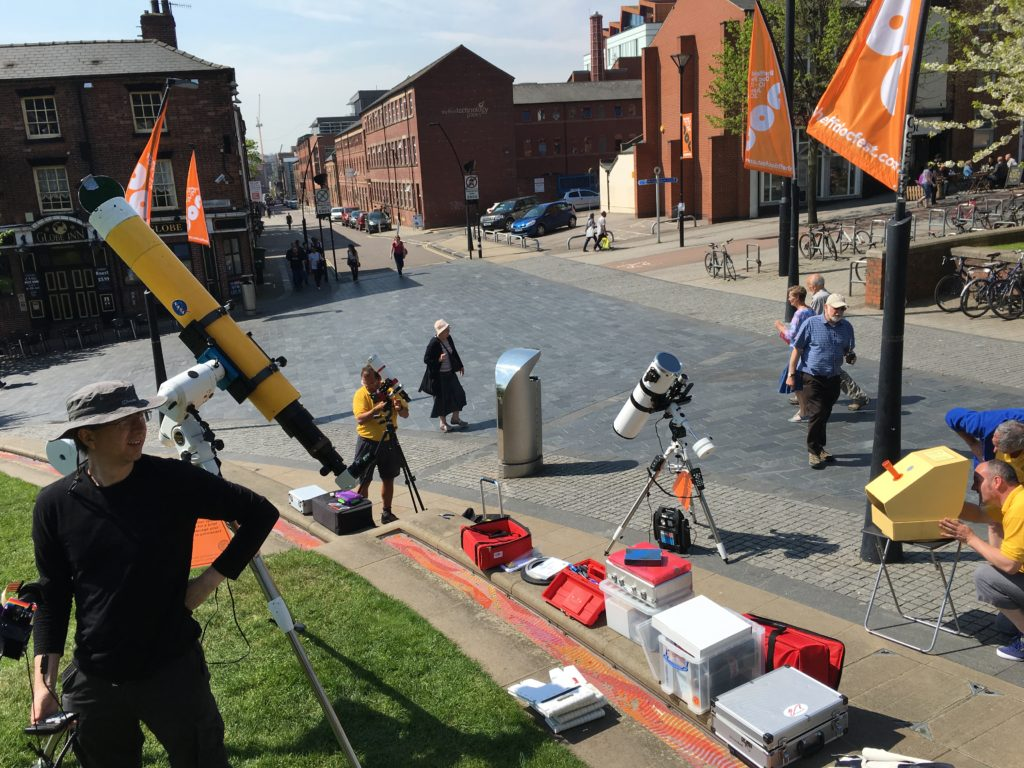 Setting up the telescopes at Hallam Square