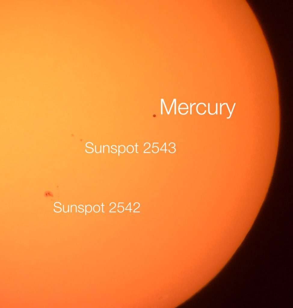 Sunspots and Mercury with Labels